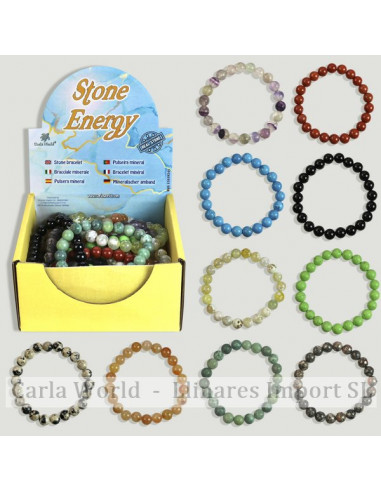 STONE ENERGY Smooth ball bracelet 8mm. Assorted minerals