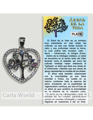 TREE OF LIFE HEART. Silver pendant with zircons. 20x20mm