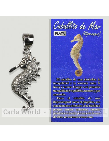 SEAHORSE. Silver pendant with zircons. 12x23mm