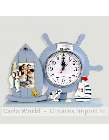 Table clock with photo frame. Blue vertical. 28,5x21cm (Photo: 5x8cm)