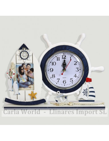 Table clock with photo frame. Vertical white. 28,5x21cm (Photo: 5x8cm)
