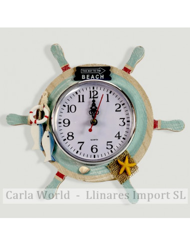 Table clock. BEACH. Blue and red rudder. 23cm
