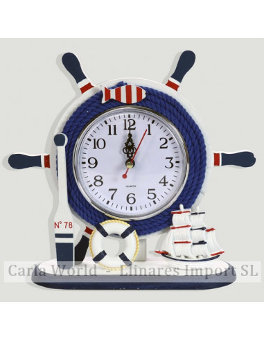 Table clock. BEACH. Blue wind-up rudder with base. 23x22cm