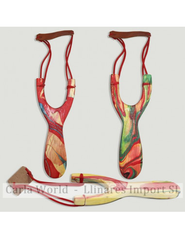 Painted wood slingshot. Indonesia. Assorted colours. 18cm