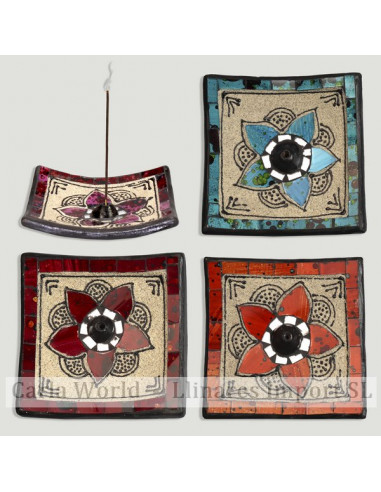 Terracotta, sand and mosaic incense holder. Square flower model. 12x12cm