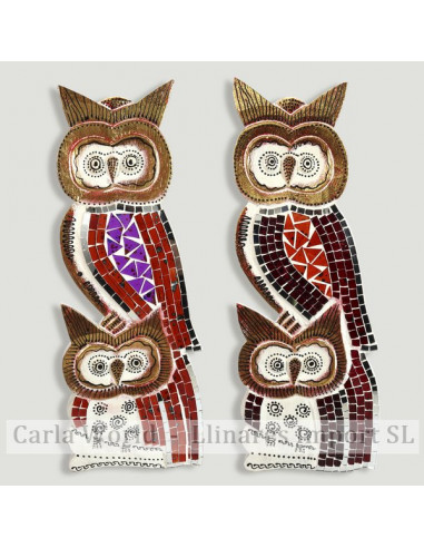 Double wood and mosaic owl. Assorted colours. 15x40cm