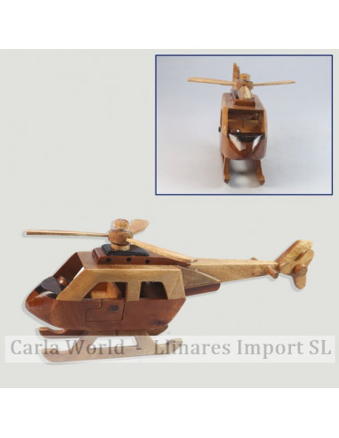 Medium-sized wooden helicopter vehicle. 25x10x4,8cm